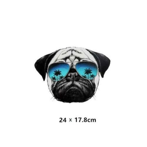 A142...PUG DOG WITH SUN GLASSES IRON-ON HEAT TRANSFER//APPLIQUE