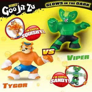 Heroes of Goo Jit Zu 2 Pack of Glow in The Dark Action Figures Tygor Vs Viper