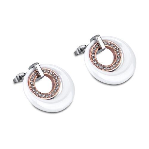 Lotus Style Ohrringe LS1704-4//2 Ohrhänger weiß rose Stahl Keramik JLS1704-4-2