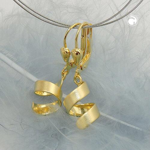 333 Gelbgold Ohrringe Ohrhänger Brisur, kurze Spirale mattiert, 8Kt GOLD