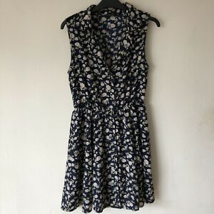 Miso-Size-UK-10-Floral-Buttoned-Dress-Flowy-Summer-Midi-Open-Front-Collared