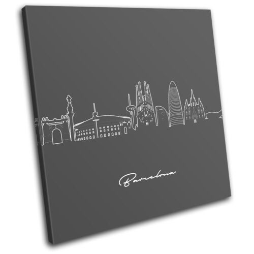 Barcelona Abstract Line Art City SINGLE CANVAS WALL ART Picture Print VA