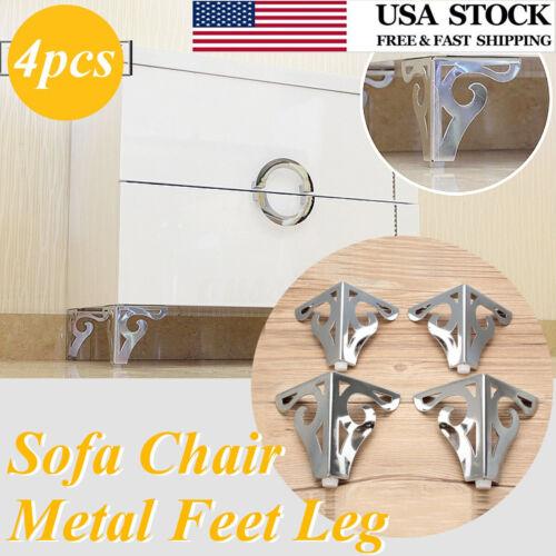 4pcs 3.7/'/' Silver Cool Pattern Furniture Sofa Chair Metal Feet Legs Home Decor