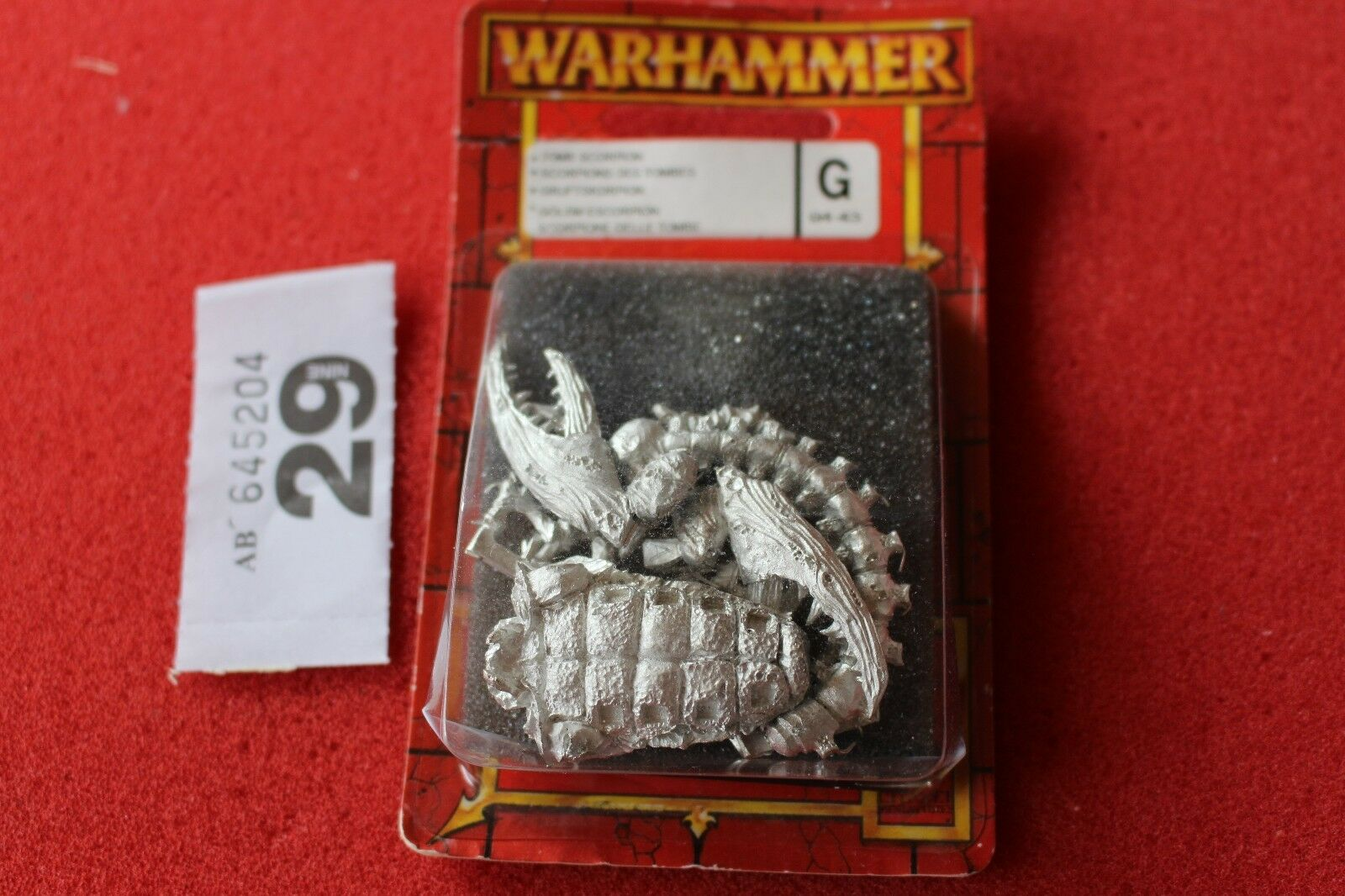 Games Workshop WARHAMMER FANTASY Tomb Kings SCORPION COMPLETA IN METALLO NUOVO CON SCATOLA FUORI CATALOGO