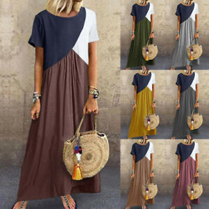 UK-Boho-Women-Short-Sleeve-Ladies-Summer-Long-Maxi-Kaftan-Dress-Plus-Size-6-24