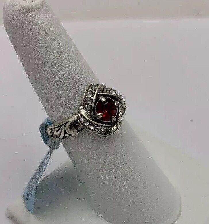 Brighton ETERNITY KNOT Red Swarovski Crystal Ring Size 7 J62313 NWT
