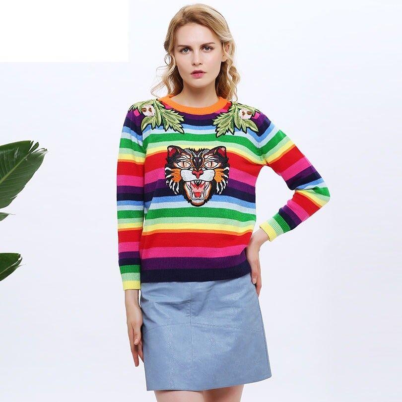 daMänner Sweater S W Lange Sleeve Farbe Block Embroiderot Animal Cardigan SweatHemd