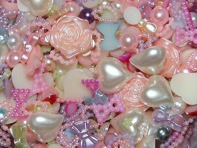CandyCabsUK 1000 Pcs Mixed Flatback Faux Half Pearls Hearts Bows Cabochons DIY