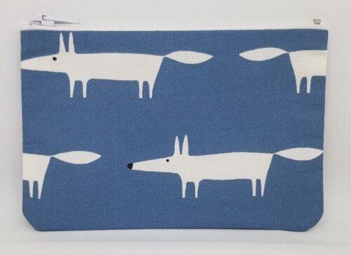 Scion /'Mr Fox/' Blue Fabric Handmade Zippy Coin Money Purse Storage Pouch