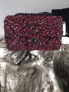 703e28e64c64 NWT CHANEL SO BLACK Mini Tweed Classic Flap Rectangle 2018 Purple ...