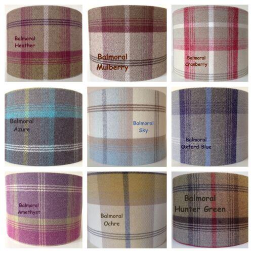 Lampshade Balmoral Tartan Tweed Cherry Red Highland Country Check Plaid HANDMADE