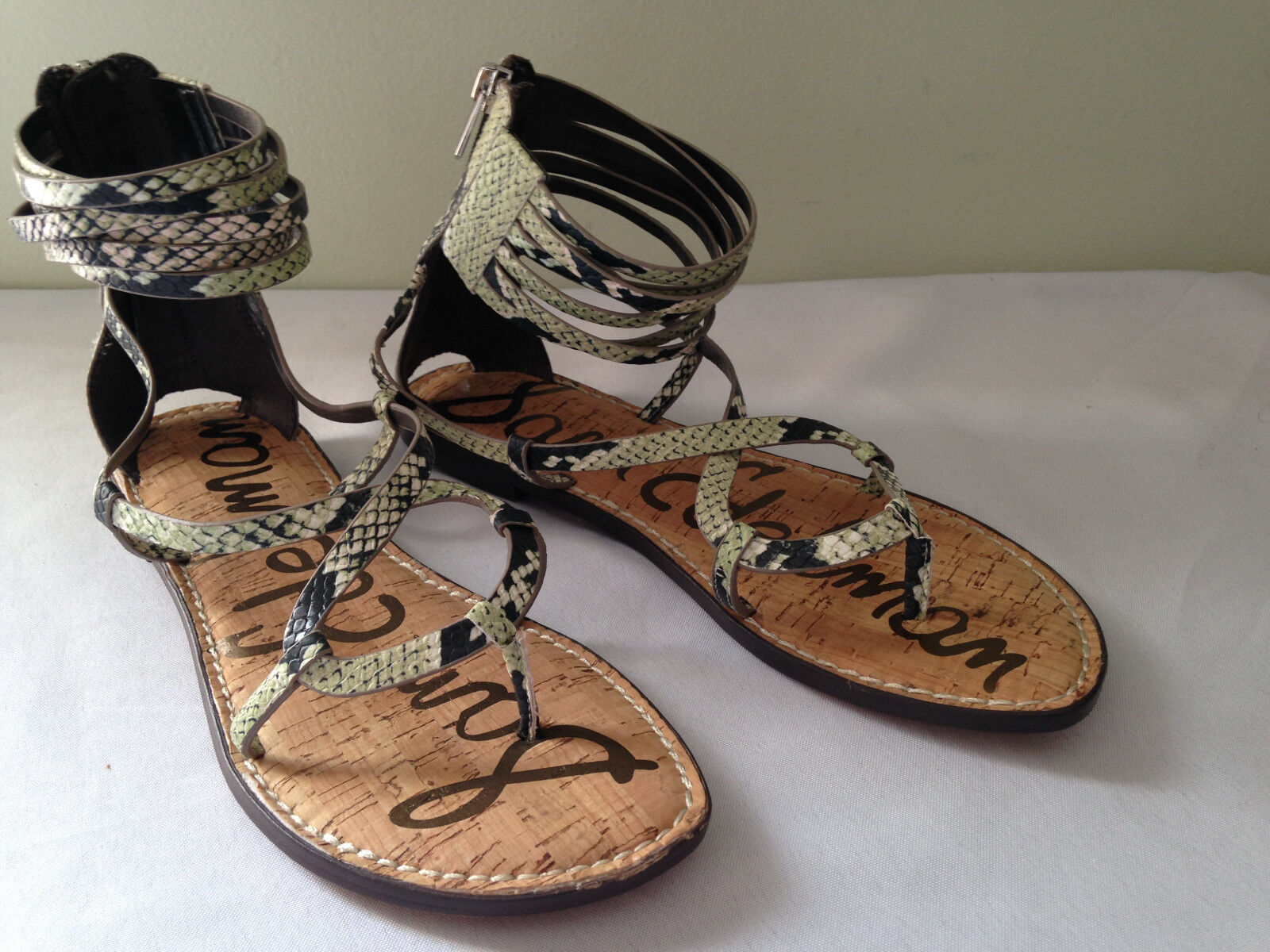NEW  Sam Edelman Snakeskin GLENDA Gladiator Ankle Strappy Flats Sandals 6.5 M