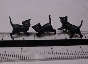 1-12th-Scale-Three-Black-Kittens-Doll-House-Miniature-Cats-Pets-Animals