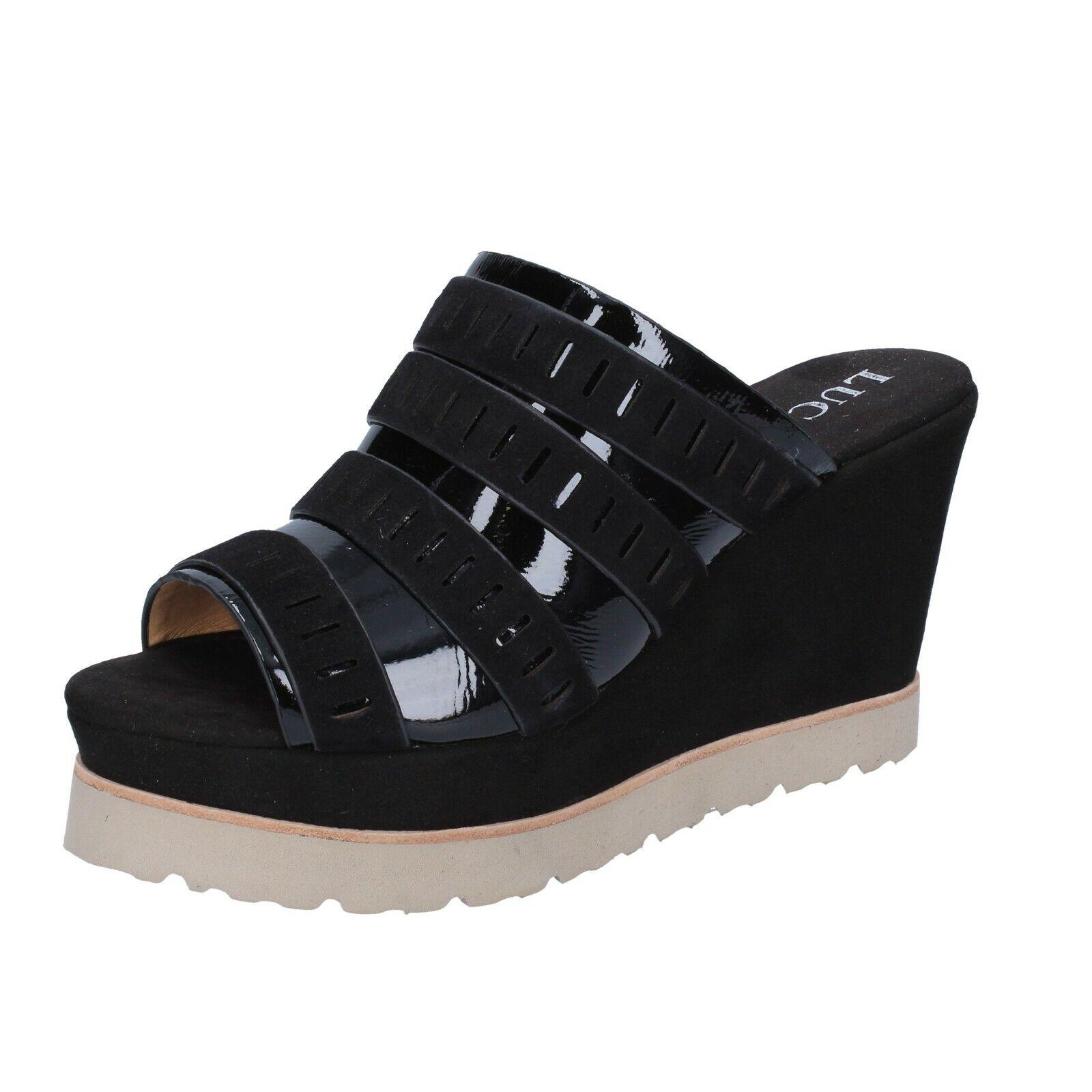 Scarpe donna Luca Stefani 4 (EU 37) Sandali neri in pelle scamosciata cuoio BR84-37