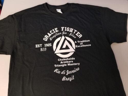 Gracie Fighter BJJ Brazilian Jiu Jitsu T-shirt Tee MMA Mixed Martial arts