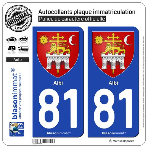 2 Adhésifs Plaque D'immatriculation Auto | 81 Albi - Armoiries | 81000