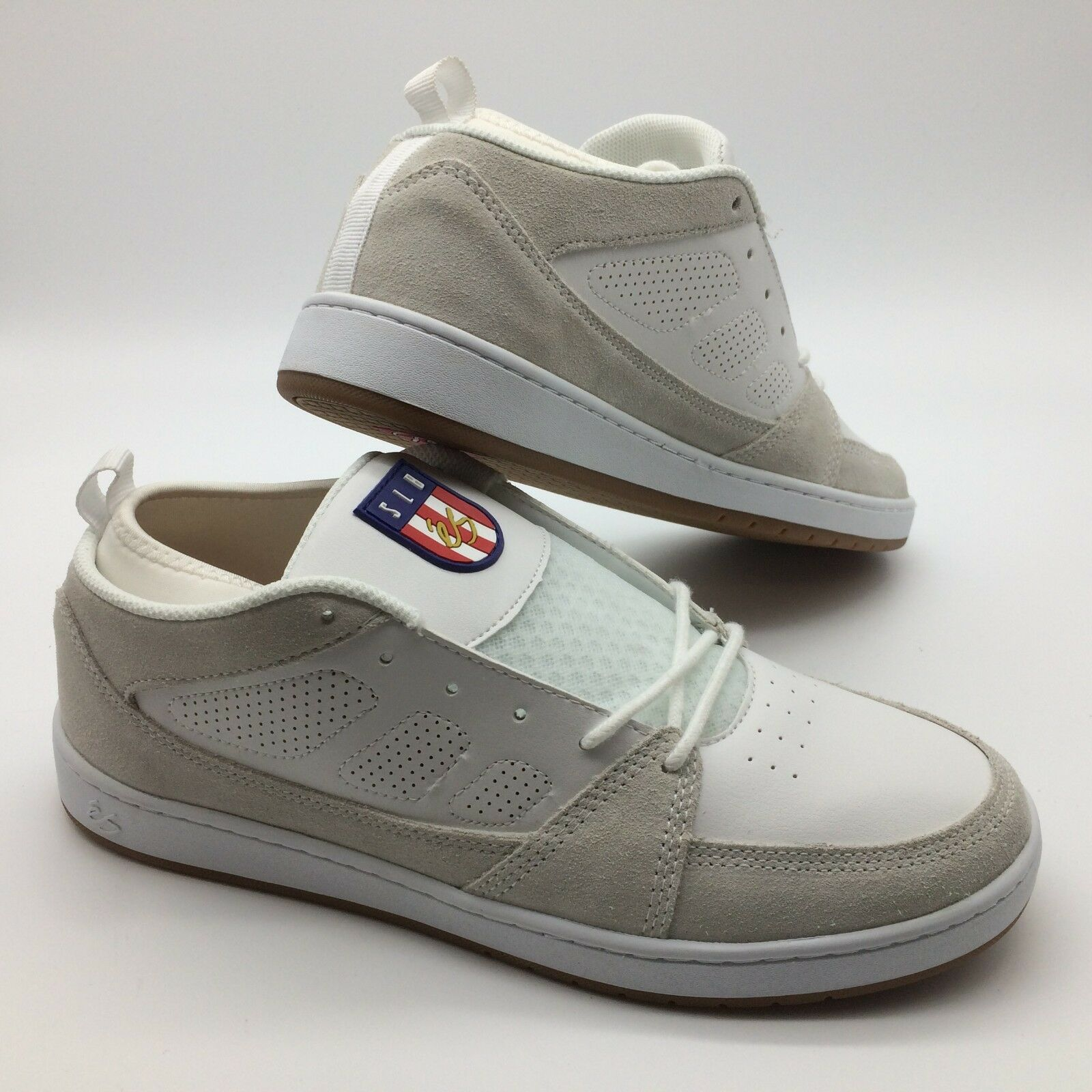 ES Men's shoes's'' MENS SLB MID'' COLOR--WHT WHT GUM SUEDE