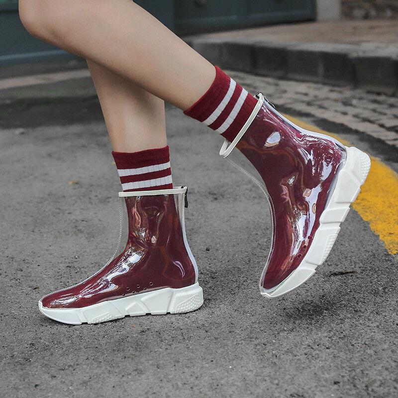 PVC Transparent Damenschuhe Stiefel Gummistiefel Regenschuhe Mode Stiefel Neu