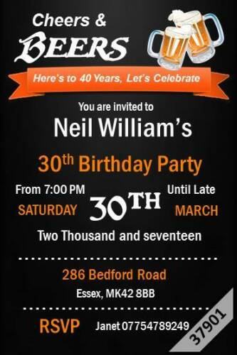 10 x Personalised Any Age 18th 21st 30th 40th 50th 60th Birthday Party Invites