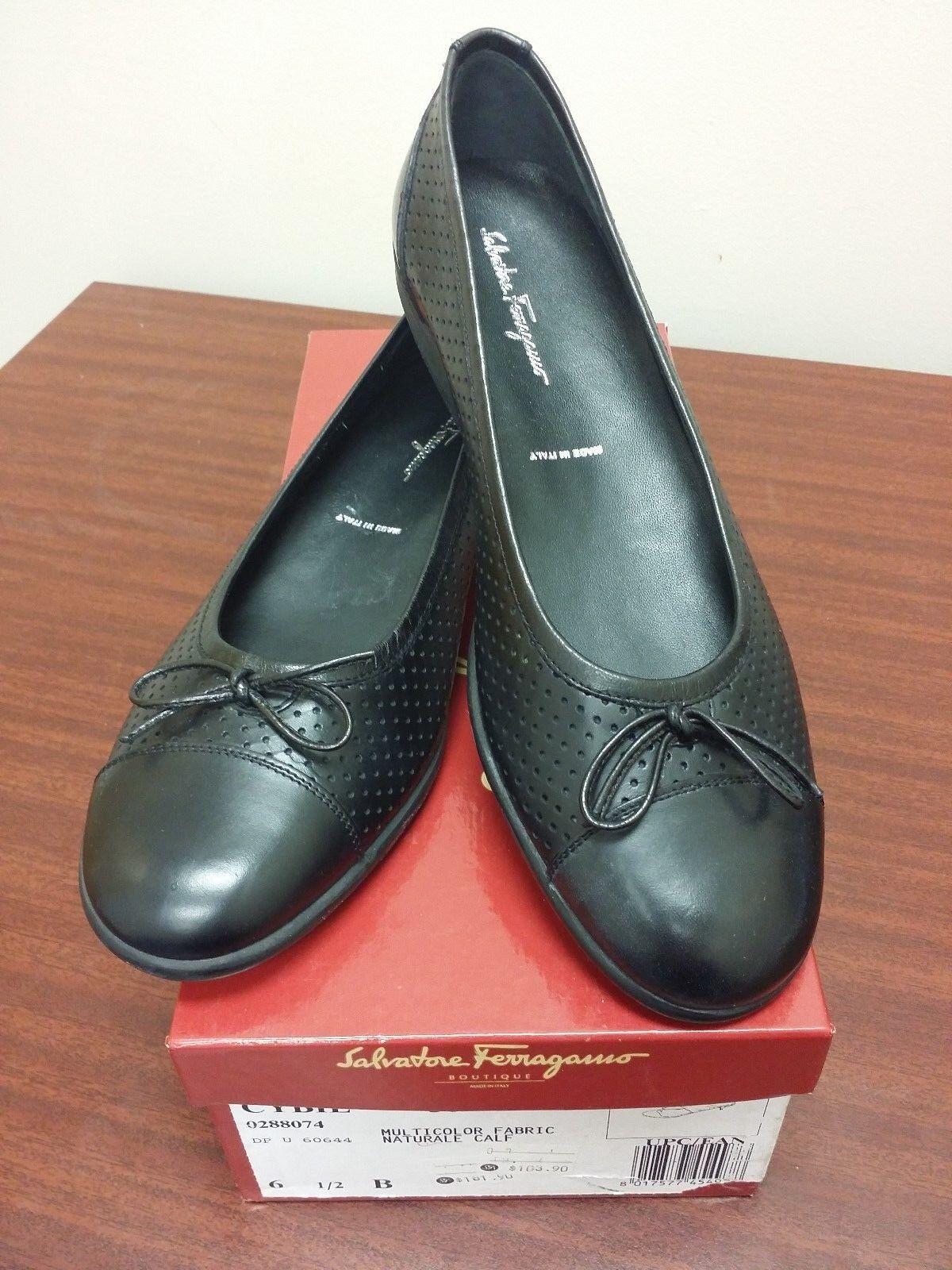 Nuevo En Caja Nuevos Cómodos Negro Cuero Salvatore Ferragamo captoe arco Flats zapatos 6 M