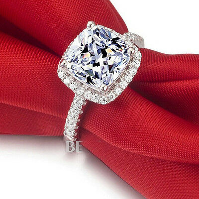 Brand Jewelry Women's 925 Silver Diamonique White Sapphire Ring Size 5-11