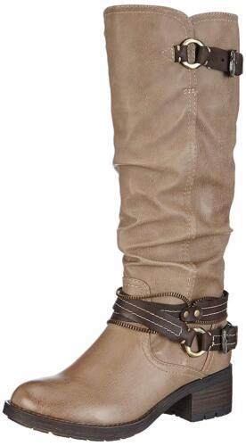 Chunky Heel 5 Beige High Brown 25633 Tozzi Size Knee Womens Taupe Marco Boots xwHz8qgx