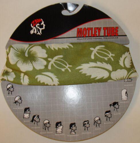 Green White Flower Motley Tube Multi Function Headwear  Biker Beanie Sports ATV