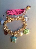 Pretty Charm Bracelet Starfish, Scallop Shell, Hearts Betsey Johnson Gift Box