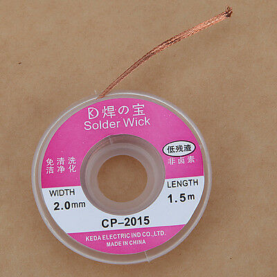 2.5 ft. 2.0mm Desoldering Braid Solder Remover Wick Sucker Cable Wire CP-2015