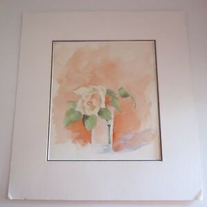 Details about Vintage water color painting apricot rose 1962