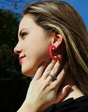 """Kate Spade Bright Gem """"Jewel Blocks"""" BOLD Hoop Earrings NEON FLO PINK GLOWING"""