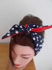 HEAD SCARF HAIR BAND NAVY BLUE  POLKA DOT BUNNY  TIE BOW ROCKABILLY RED lined
