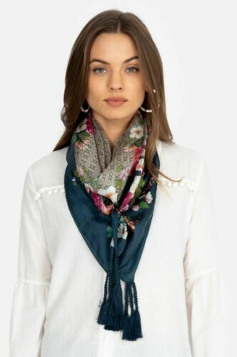 Johnny Was Jenna Scarf Silk Tassles Tassel Blue Multi Color Large Pattern New