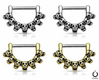 Pair Lined Skull Design Nipple Clickers Shields Rings Body Jewelry