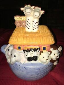NOAH-039-S-ARK-Cookie-Jar-JAY-IMPORT-Ceramic-3D-Animal-11-034-Tall-x-10-034-Long-x-6-034-Wide