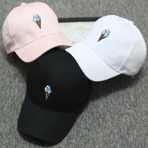 5f4eed0bd5b Women Men Snapback Baseball Cap Curved Peak Ice Cream Hip Hop Bboy ...