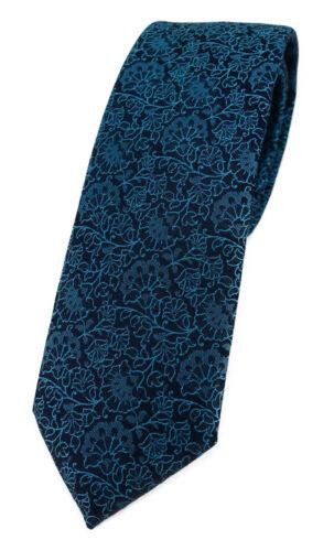 TigerTie schmale Designer Krawatte florales Muster