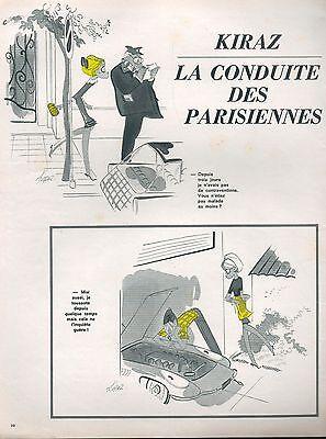 ▬► Dessin Humoristique Kiraz La Conduite Des Parisiennes 1964 2 Pages Collectibles