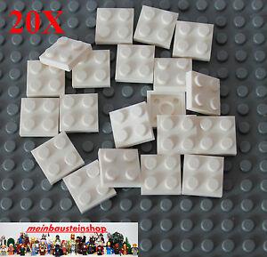 Lego 20 x Platte Bauplatte flach  2x2  3022  weiß