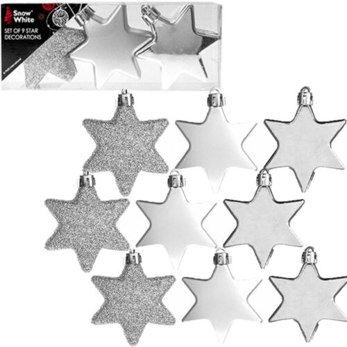 9 pcs 60mm Silver Christmas Tree Star Decorations Xmas Hanging Baubles Ornaments