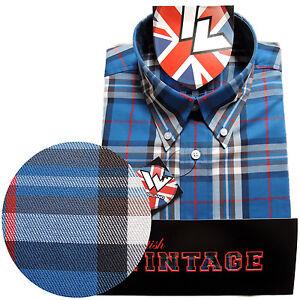 Warrior-UK-England-Button-Down-Shirt-JONES-Slim-Fit-Skinhead-Mod-Retro