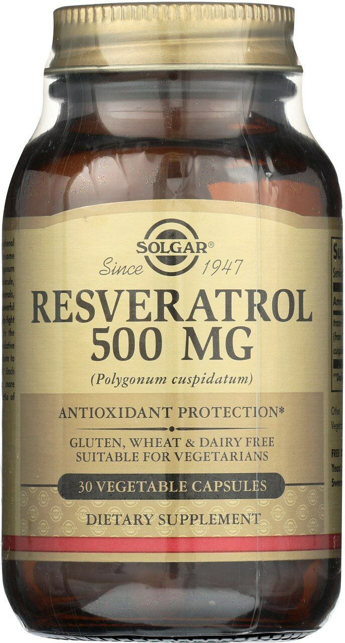 Solgar Resveratrol Vegetable Capsules 500 Mg 30 Count For Sale