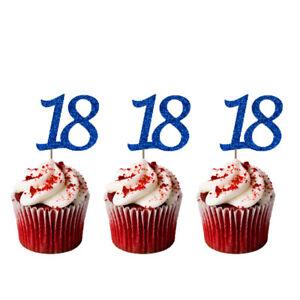 Das Bild Wird Geladen 18th Geburtstag Cupcake Toppers Nummer 18 Glitzer Dunkelblau