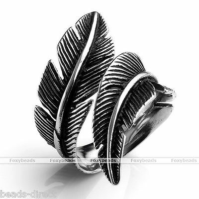 Men's Vintage 316L Stainless Steel Feather Wrap Finger Ring us8/9/10/11/12 Gift