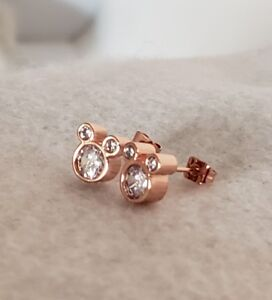 Image Is Loading Dazzling Rose Gold Plated Cubic Zirconia Mickey Mouse