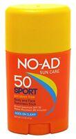 No-ad Sun Care Sport Spf 50 Sunscreen Stick Body And Face 1.5 Oz