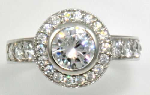 1 ct  Halo Ring Top Russian Quality Extra Brilliant  CZ   S Silver  Size 7