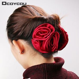 Korean Style Women/'s Satin Rose Flower Jaw Clip Barrette Hair Clamp Claw Clips