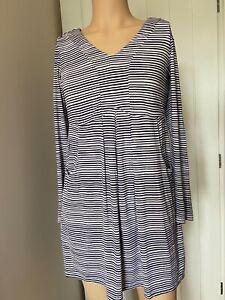 Joules-Dress-Tunic-Top-UK-Size-14-Womens-Ladies-White-Blue-Stripe-Pockets-Jersey
