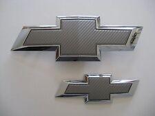 2015 2017 Chevy Tahoe Suburban Silver Carbon Fiber Bowtie Emblem Pair SET LOT 2